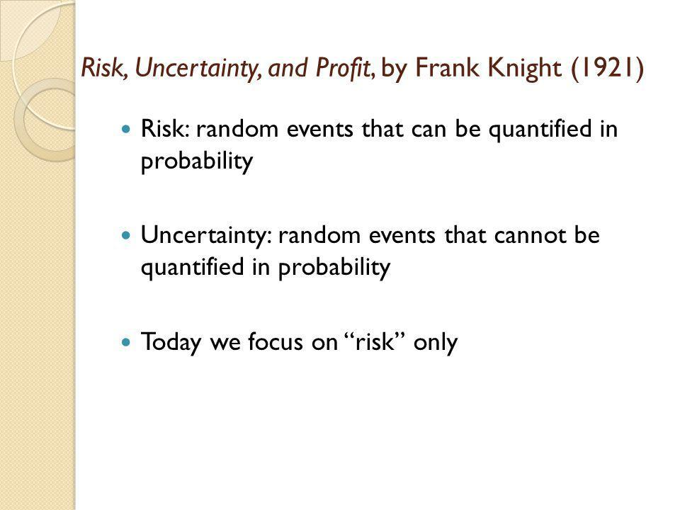 Risk, Uncertainty, and Profit, by Frank Knight (1921)