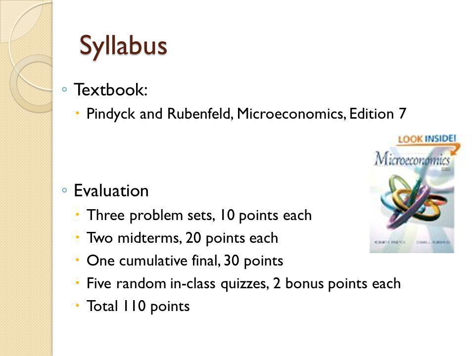 Syllabus Textbook: Evaluation