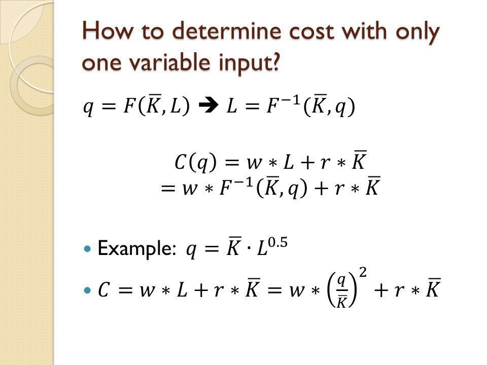 How to determine cost with only one variable input