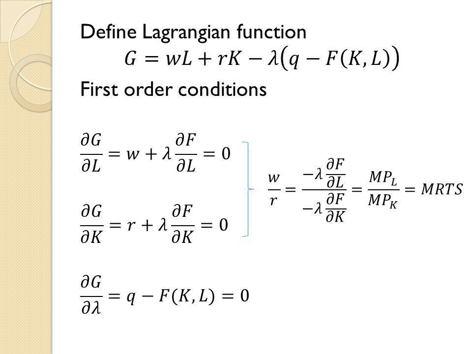 Define Lagrangian function 𝐺=𝑤𝐿+𝑟𝐾−𝜆 𝑞−𝐹 𝐾,𝐿 First order conditions