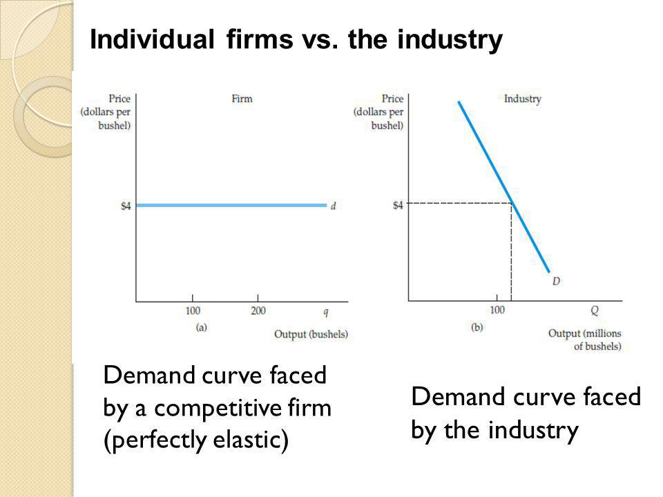 Demand curve faced by a competitive firm (perfectly elastic)