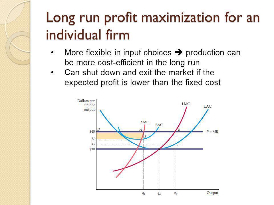 Long run profit maximization for an individual firm