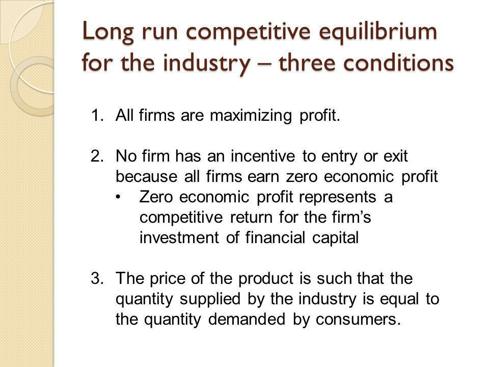 Long run competitive equilibrium for the industry – three conditions