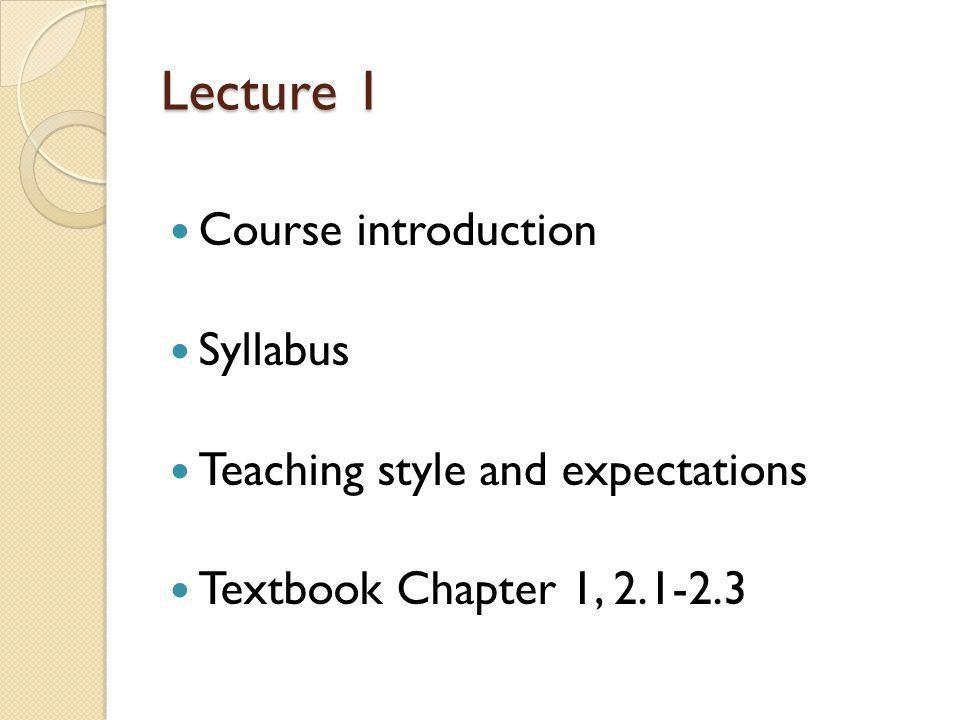 Lecture 1 Course introduction Syllabus Teaching style and expectations