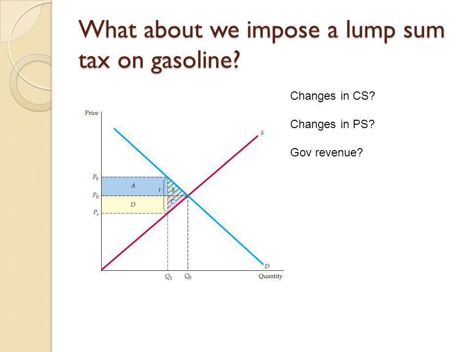 What about we impose a lump sum tax on gasoline