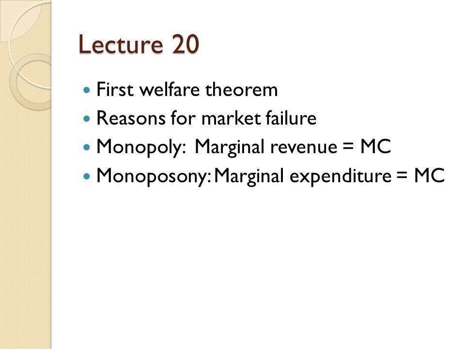 Lecture 20 First welfare theorem Reasons for market failure