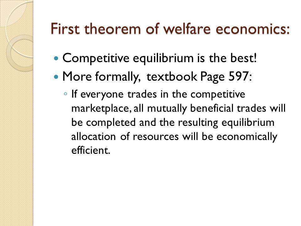First theorem of welfare economics: