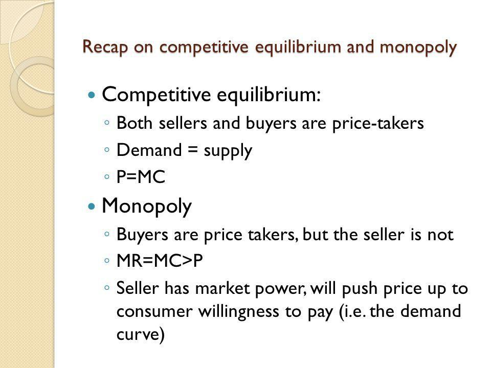 Recap on competitive equilibrium and monopoly