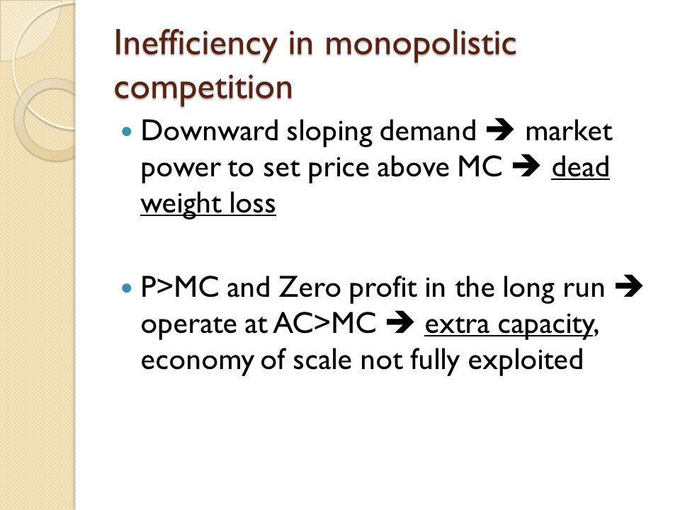 Inefficiency in monopolistic competition