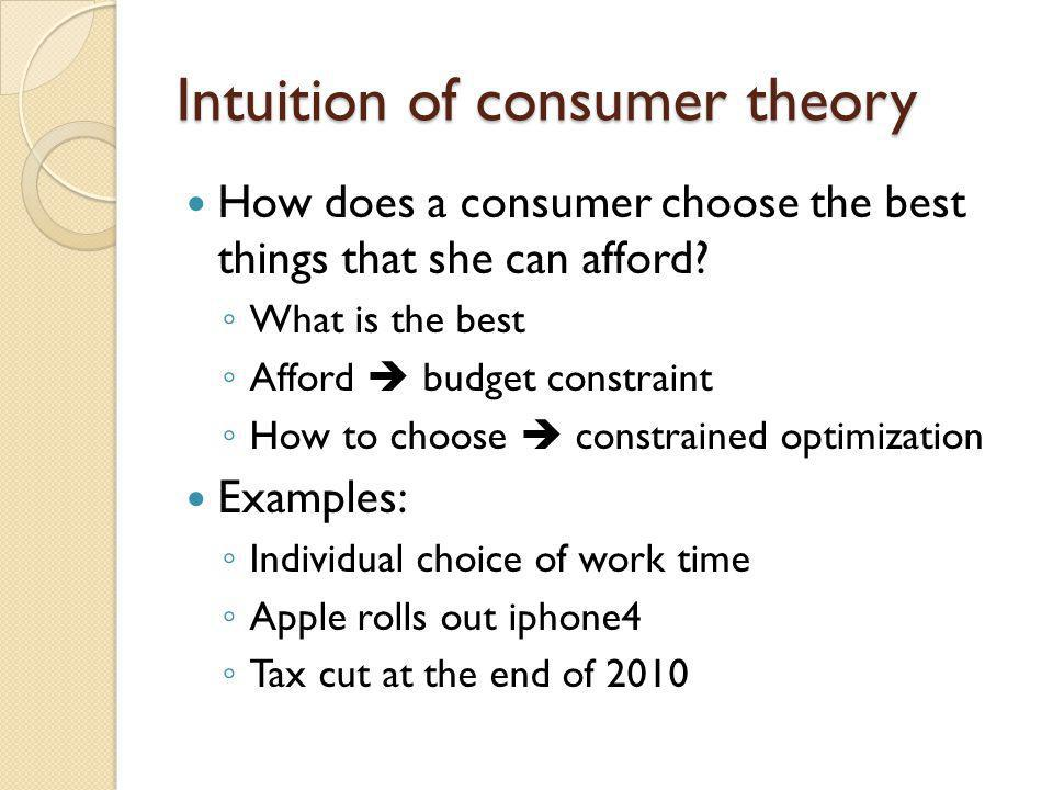 Intuition of consumer theory