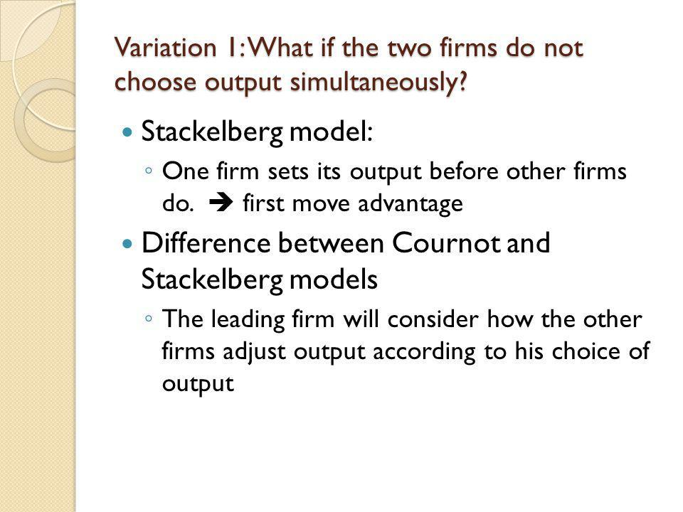 Difference between Cournot and Stackelberg models