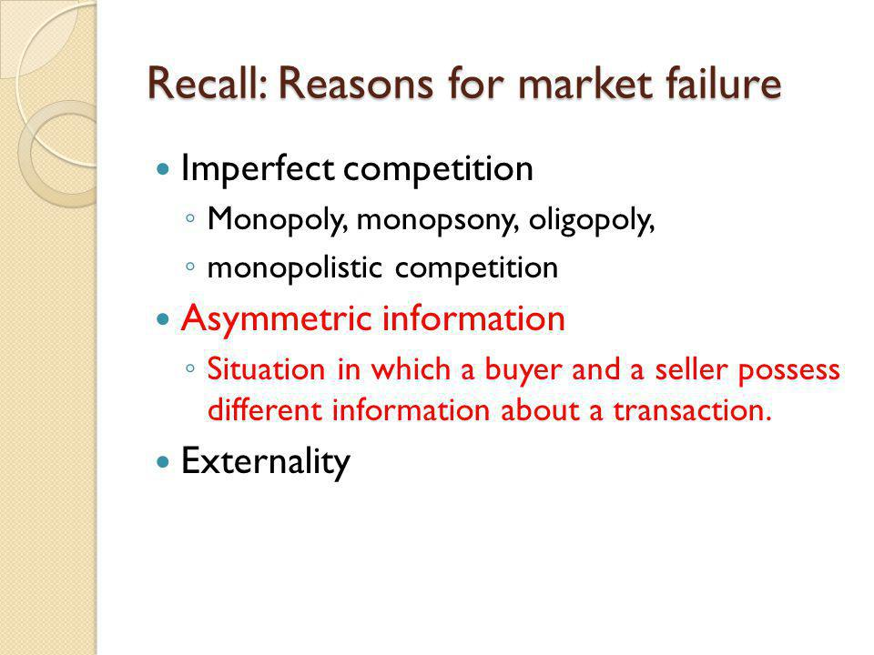 Recall: Reasons for market failure
