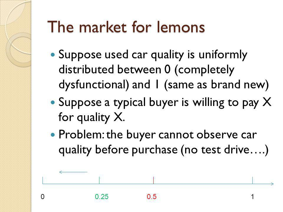 The market for lemons Suppose used car quality is uniformly distributed between 0 (completely dysfunctional) and 1 (same as brand new)