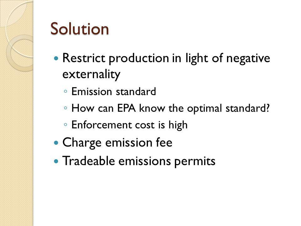 Solution Restrict production in light of negative externality