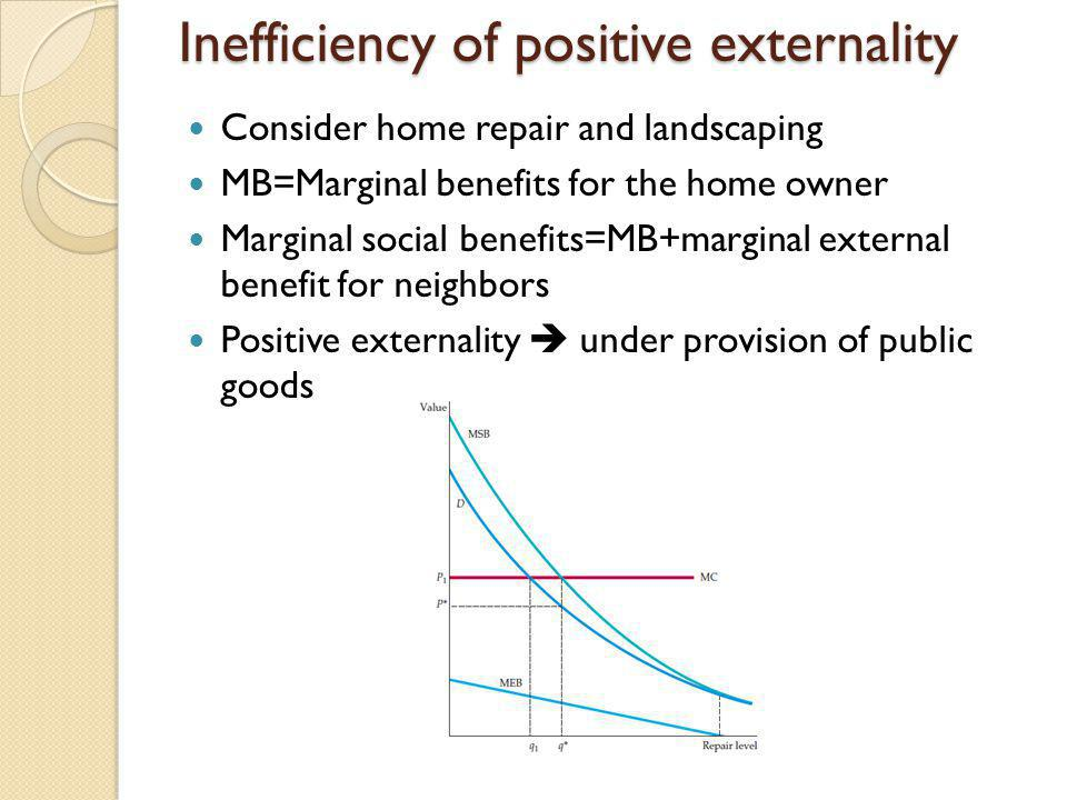 Inefficiency of positive externality