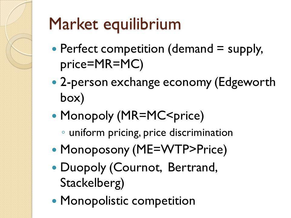 Market equilibrium Perfect competition (demand = supply, price=MR=MC)