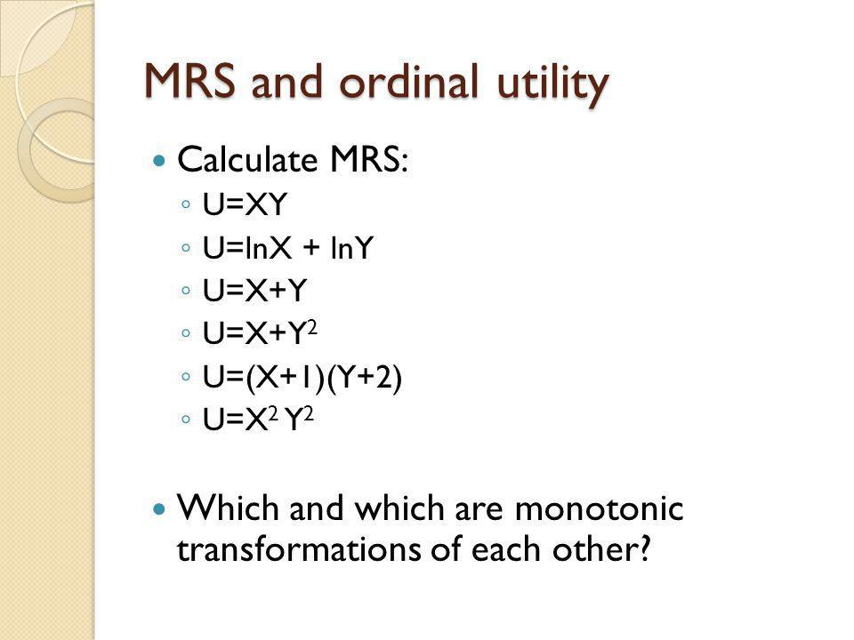 MRS and ordinal utility