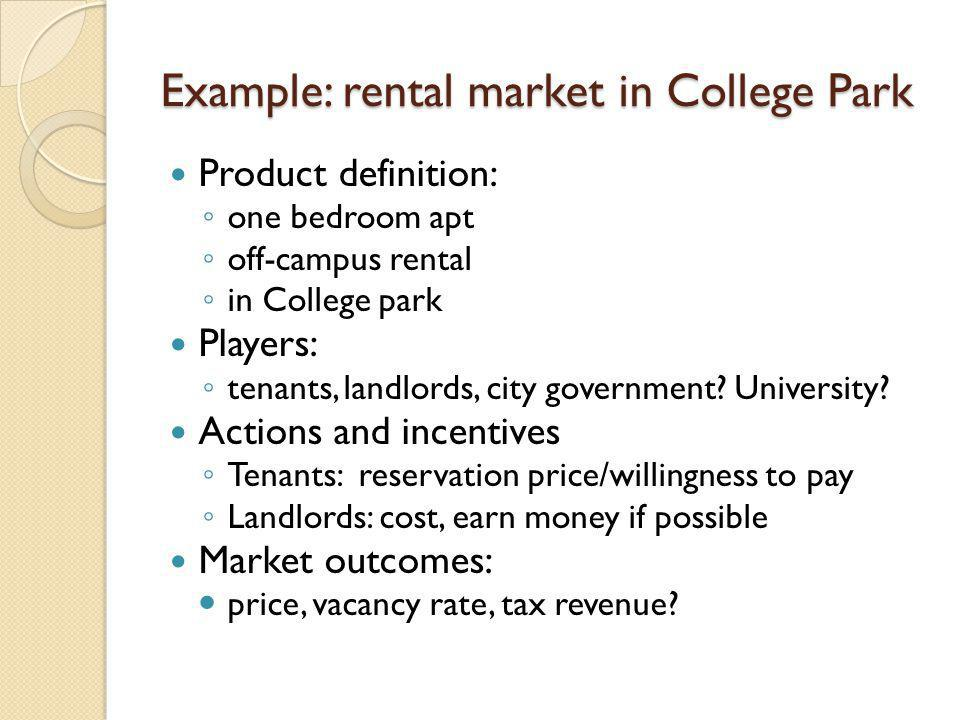Example: rental market in College Park