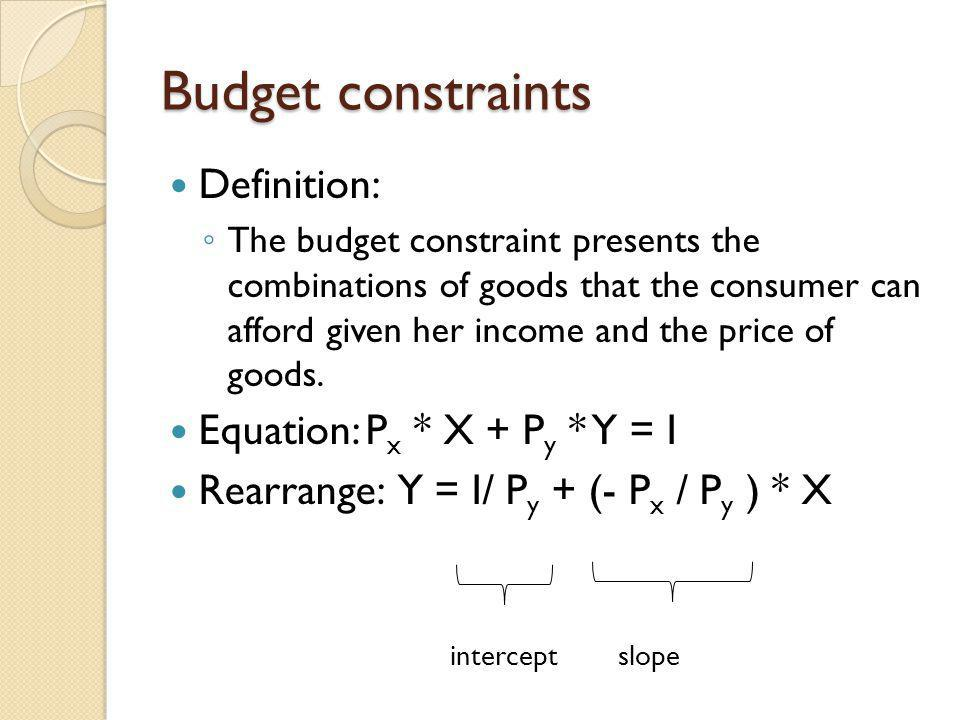 Budget constraints Definition: Equation: Px * X + Py * Y = I