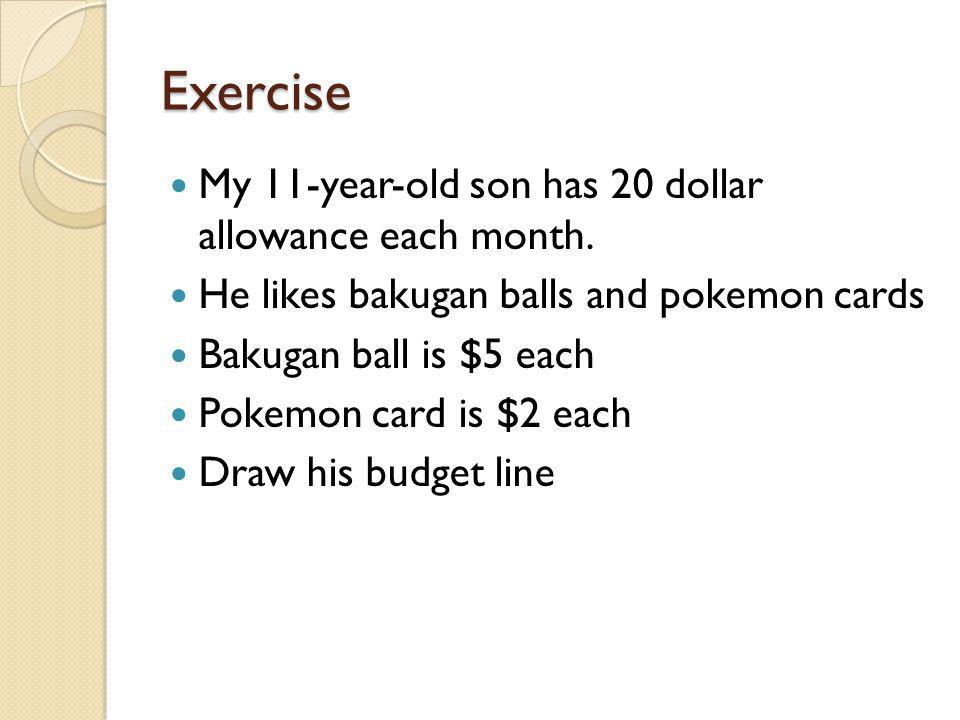 Exercise My 11-year-old son has 20 dollar allowance each month.