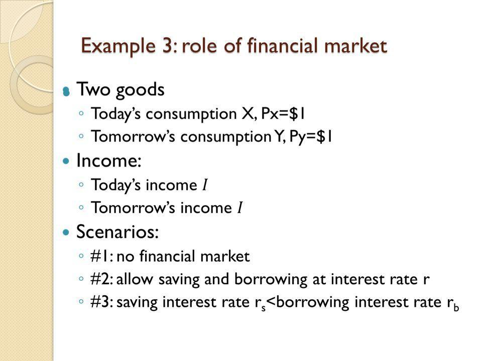 Example 3: role of financial market