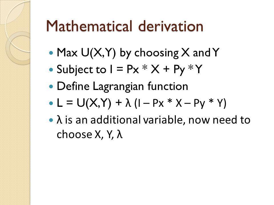 Mathematical derivation