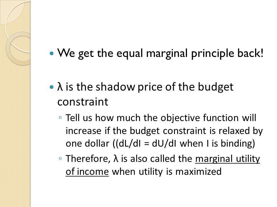 We get the equal marginal principle back!