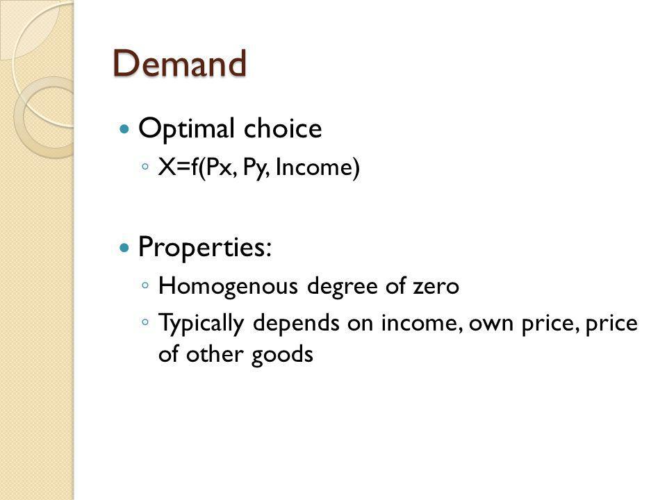 Demand Optimal choice Properties: X=f(Px, Py, Income)