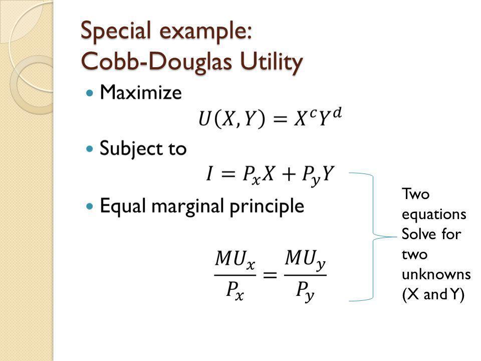 Special example: Cobb-Douglas Utility