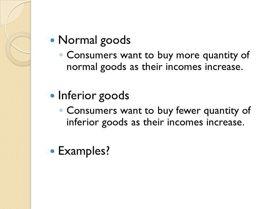 Normal goods Inferior goods Examples