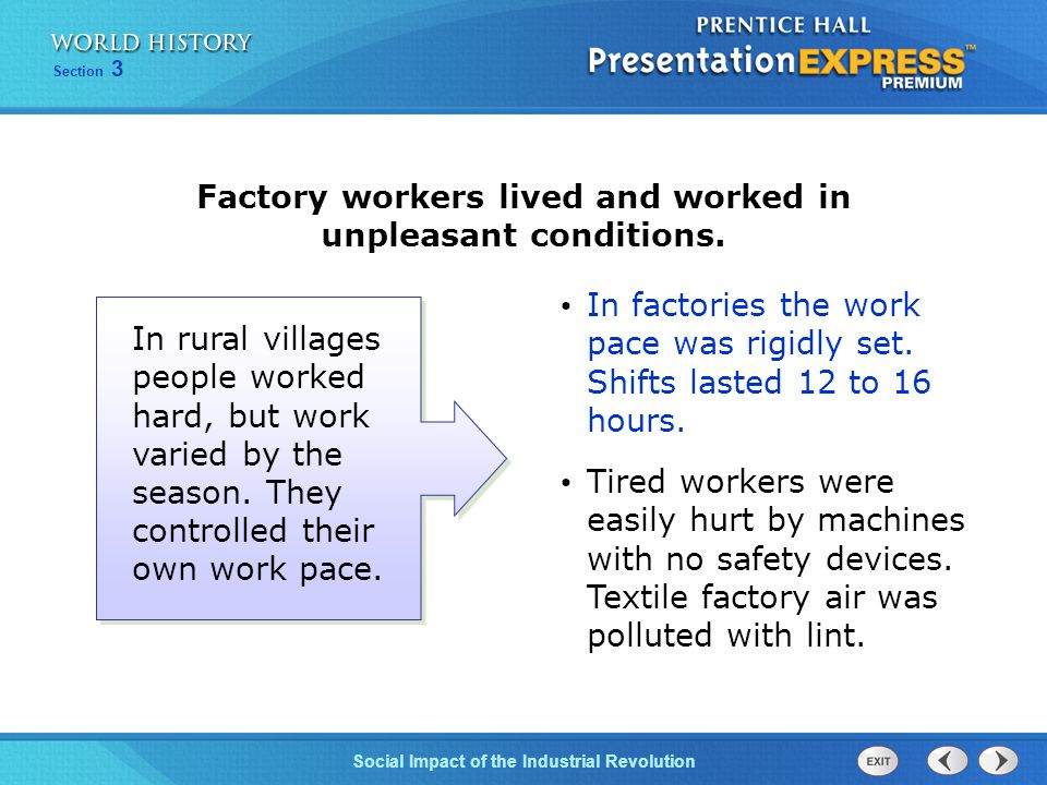 Factory workers lived and worked in unpleasant conditions.