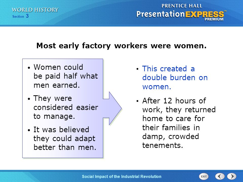 Most early factory workers were women.