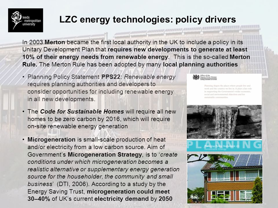 LZC energy technologies: policy drivers