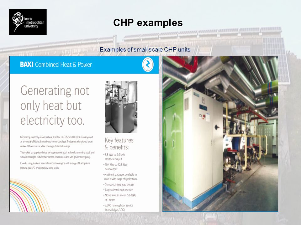 Examples of small scale CHP units