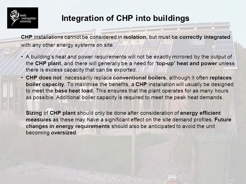Integration of CHP into buildings