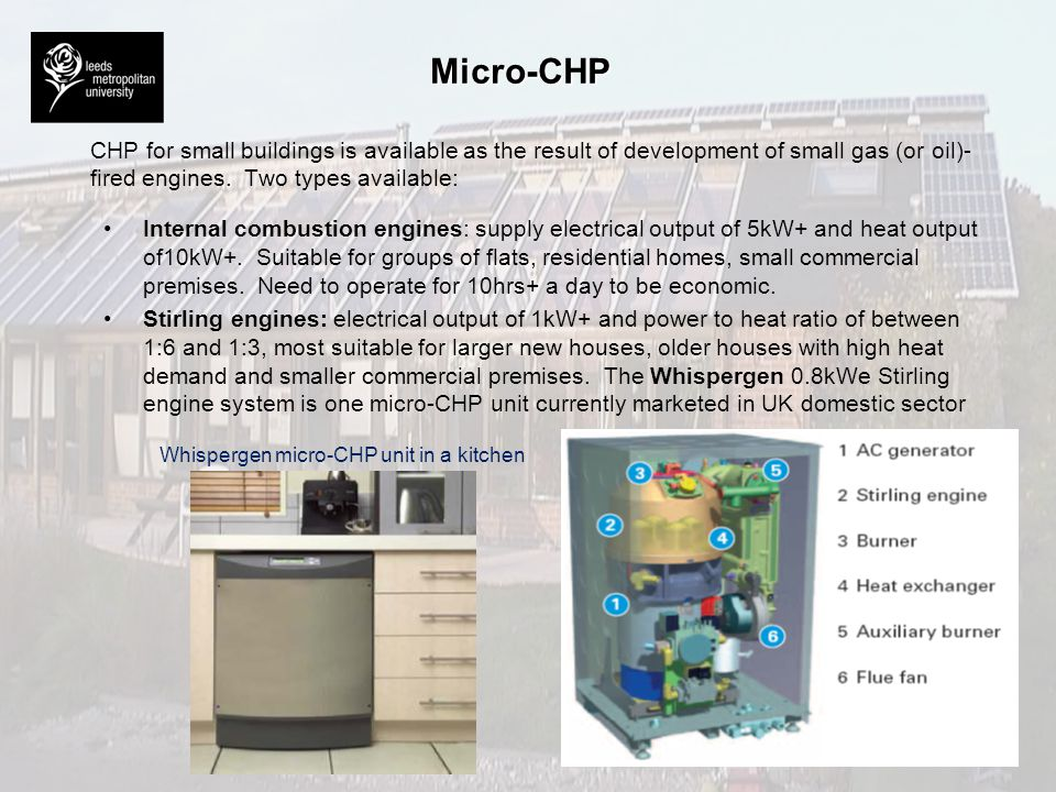 Micro-CHP CHP for small buildings is available as the result of development of small gas (or oil)-fired engines. Two types available: