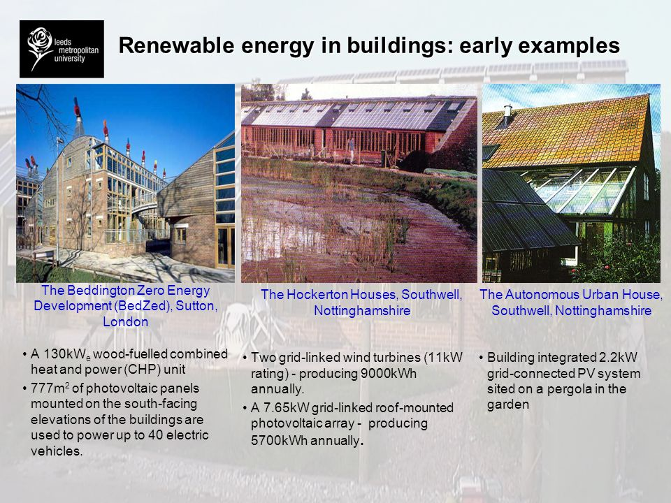 Renewable energy in buildings: early examples