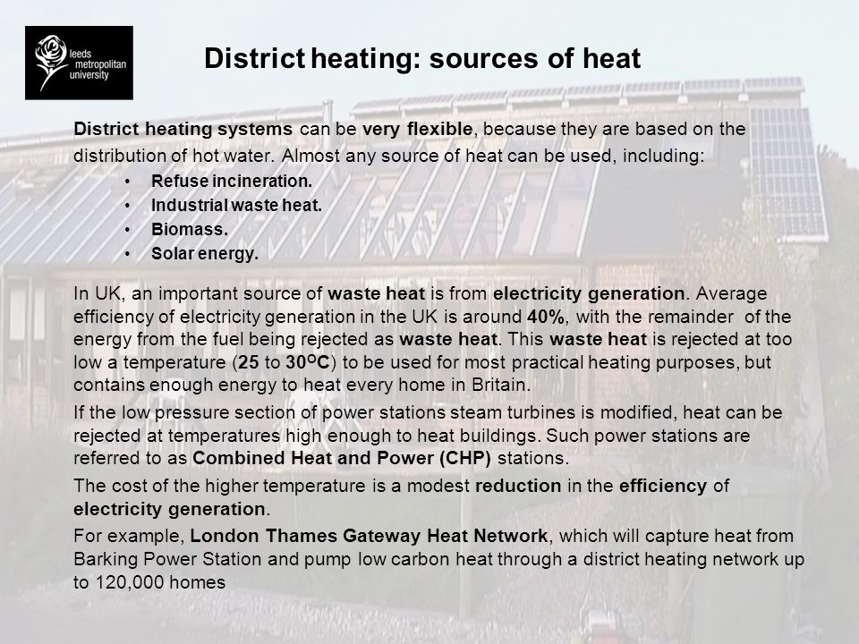 District heating: sources of heat