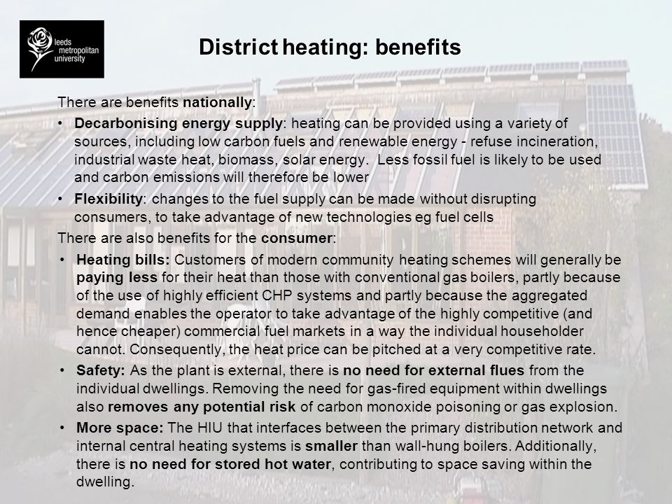 District heating: benefits