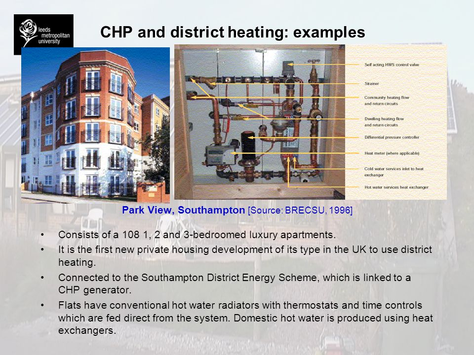 CHP and district heating: examples