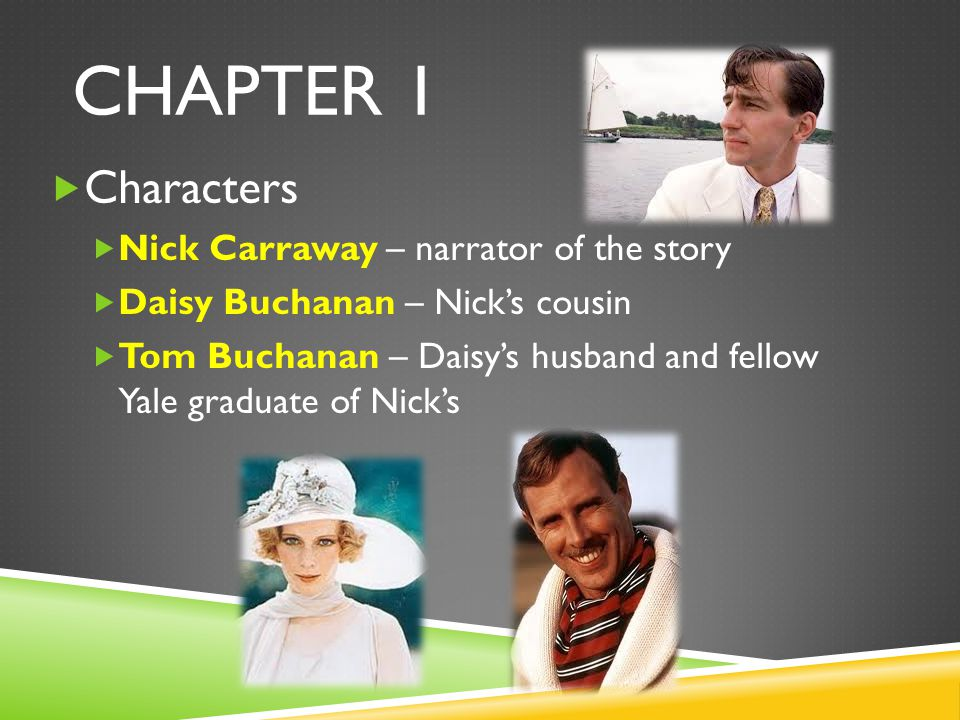 Chapter 1 Characters Nick Carraway – narrator of the story