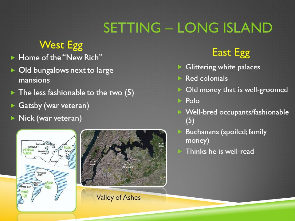 Setting – Long Island West Egg East Egg Home of the New Rich