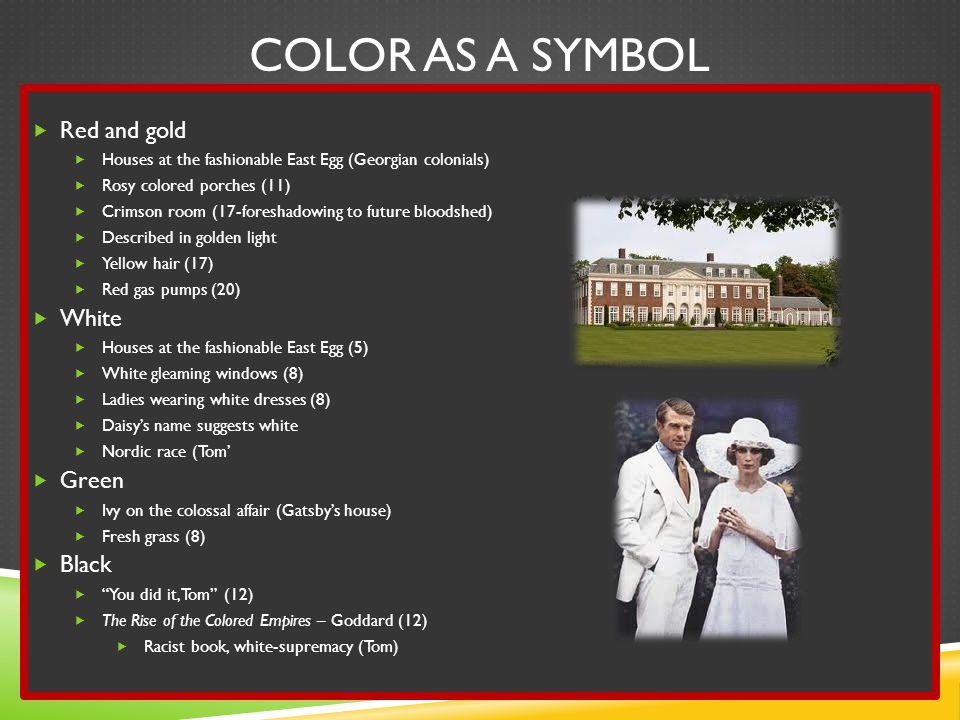 Color as a Symbol Red and gold White Green Black