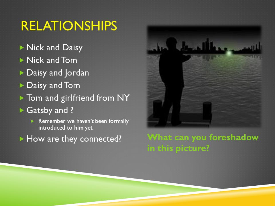 Relationships Nick and Daisy Nick and Tom Daisy and Jordan