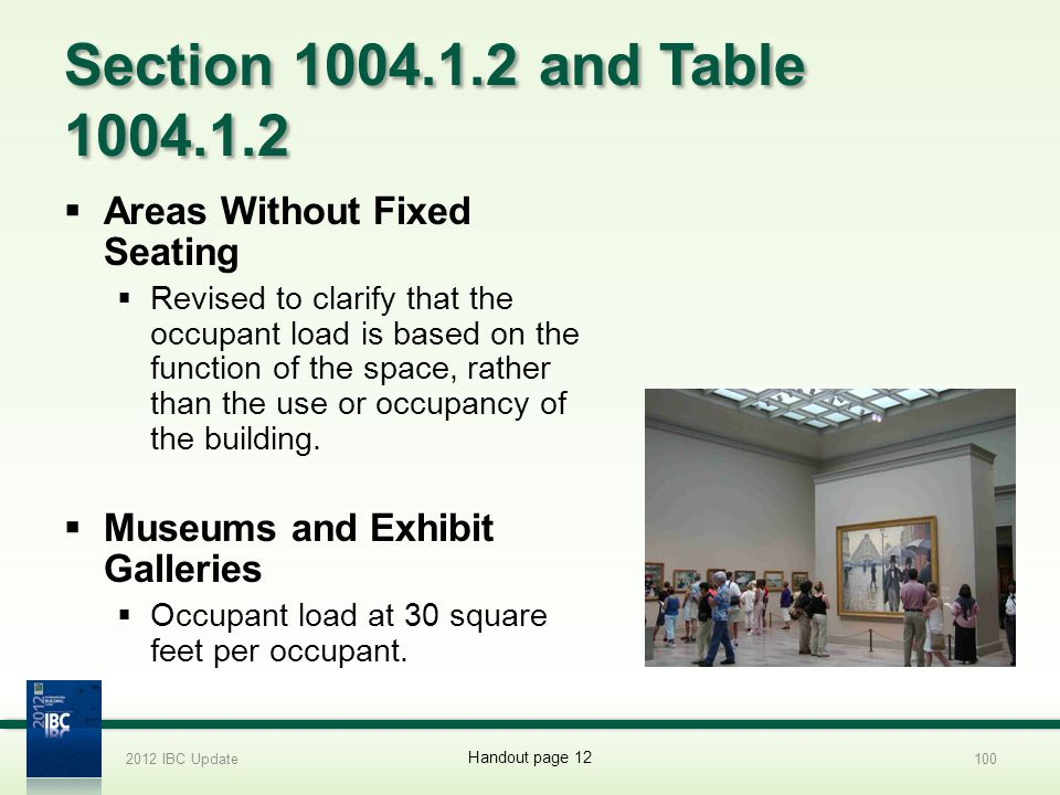Section 1004.1.2 and Table 1004.1.2 Areas Without Fixed Seating