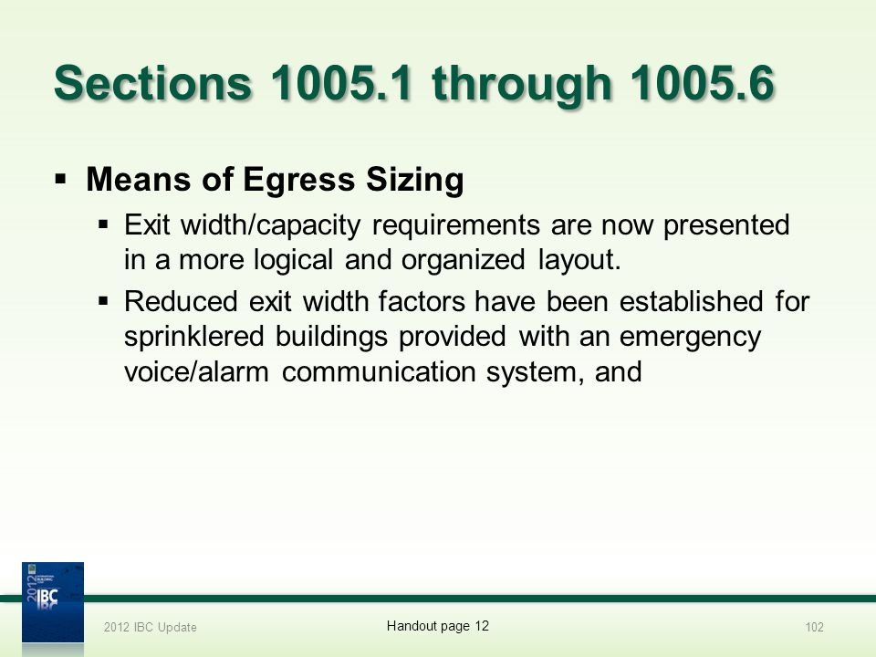 Sections 1005.1 through 1005.6 Means of Egress Sizing