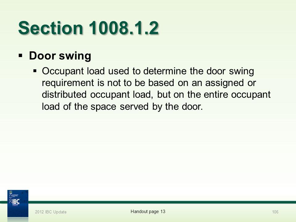 2012 IBC Update 4/1/2017. Section 1008.1.2. Door swing.