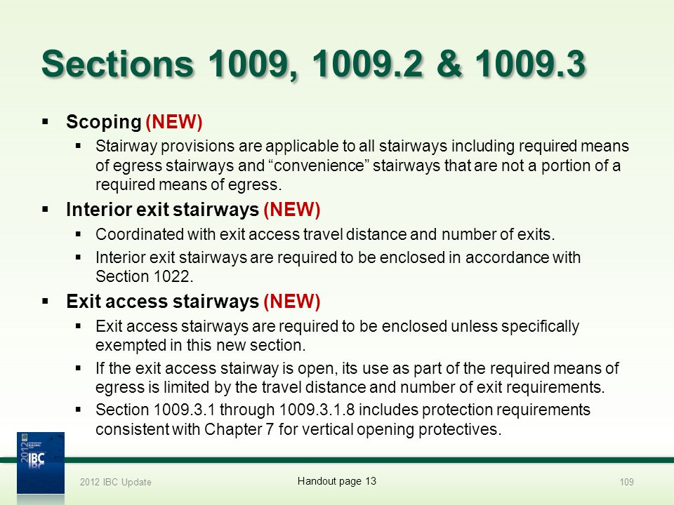 Sections 1009, 1009.2 & 1009.3 Scoping (NEW)