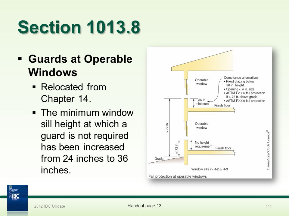 Section 1013.8 Guards at Operable Windows Relocated from Chapter 14.