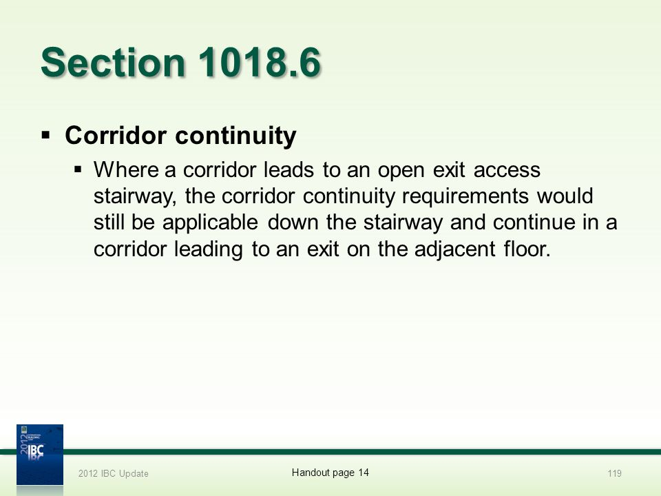 Section 1018.6 Corridor continuity